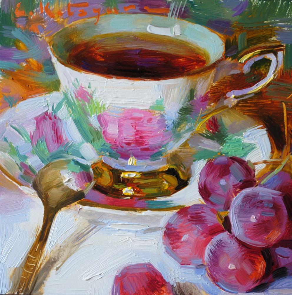 """Tea and Red Globe"" original fine art by Elena Katsyura"