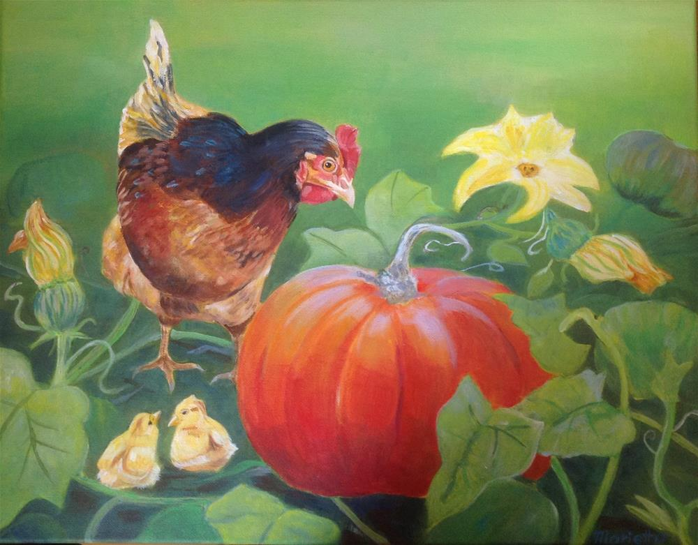 """  In the pumpkin patch! "" original fine art by Marietta Modl"