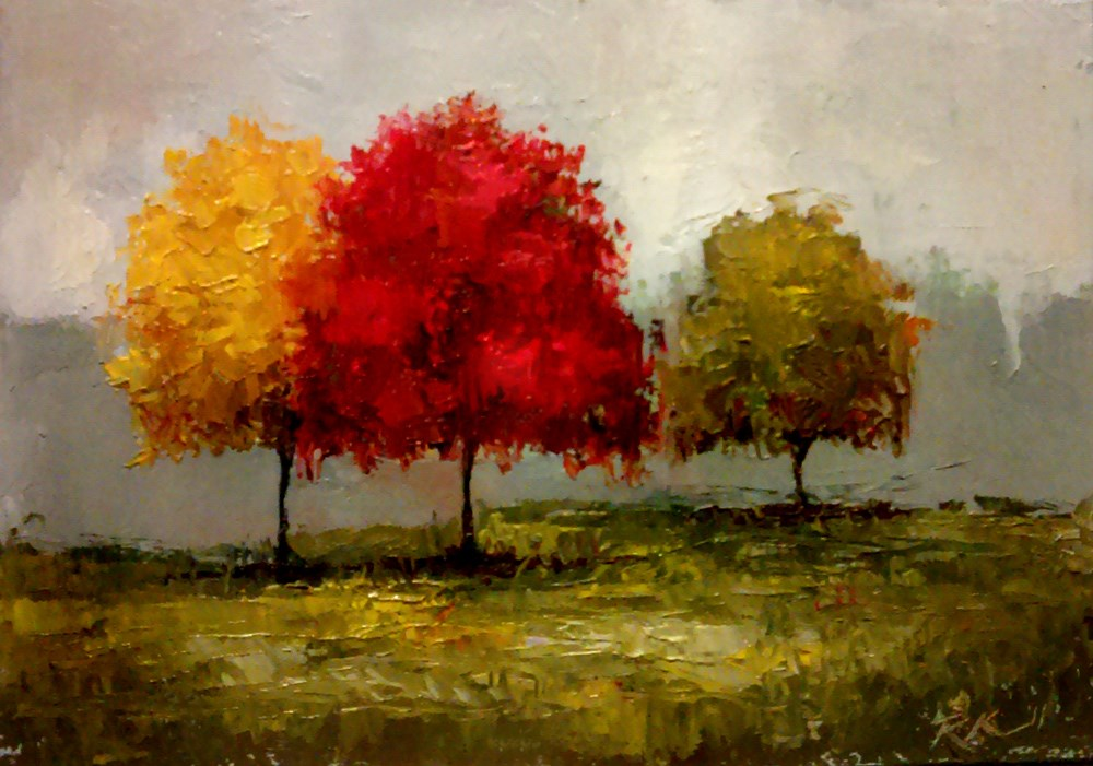 """Multi-Color Trees"" original fine art by Bob Kimball"