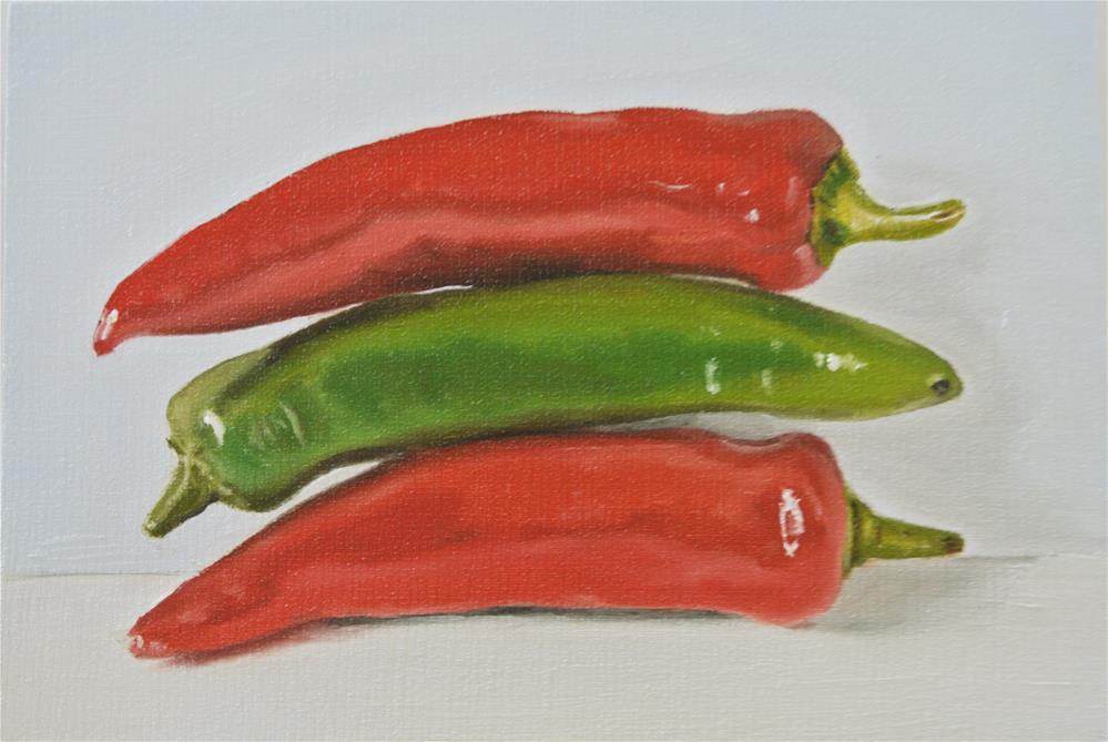 """Three Chillies Pile-Up"" original fine art by James Coates"