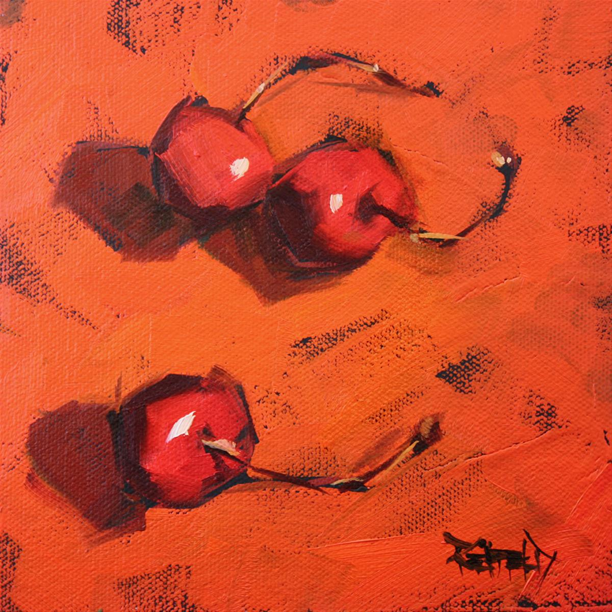 """Dancing Cherries"" original fine art by Cathleen Rehfeld"
