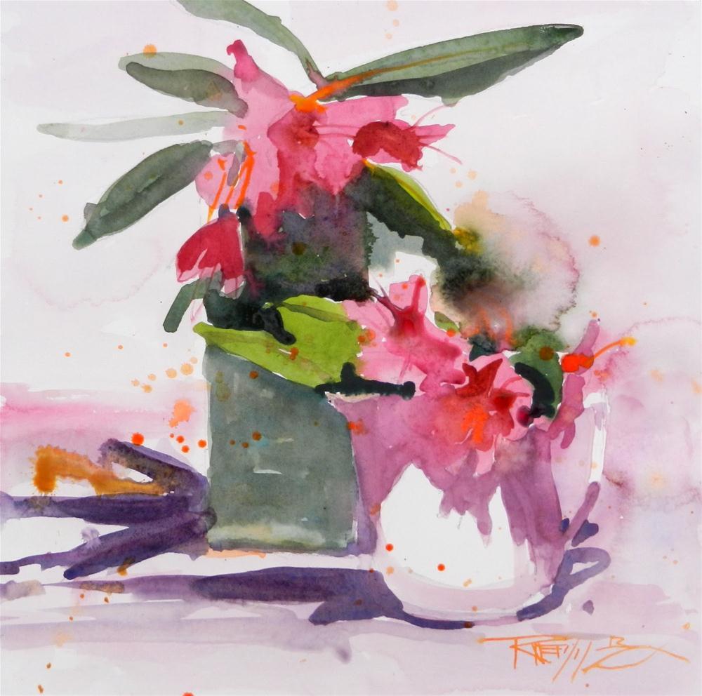 """Red Rhodies Watercolor #1  plein air, flower, watercolor by Robin Weiss"" original fine art by Robin Weiss"