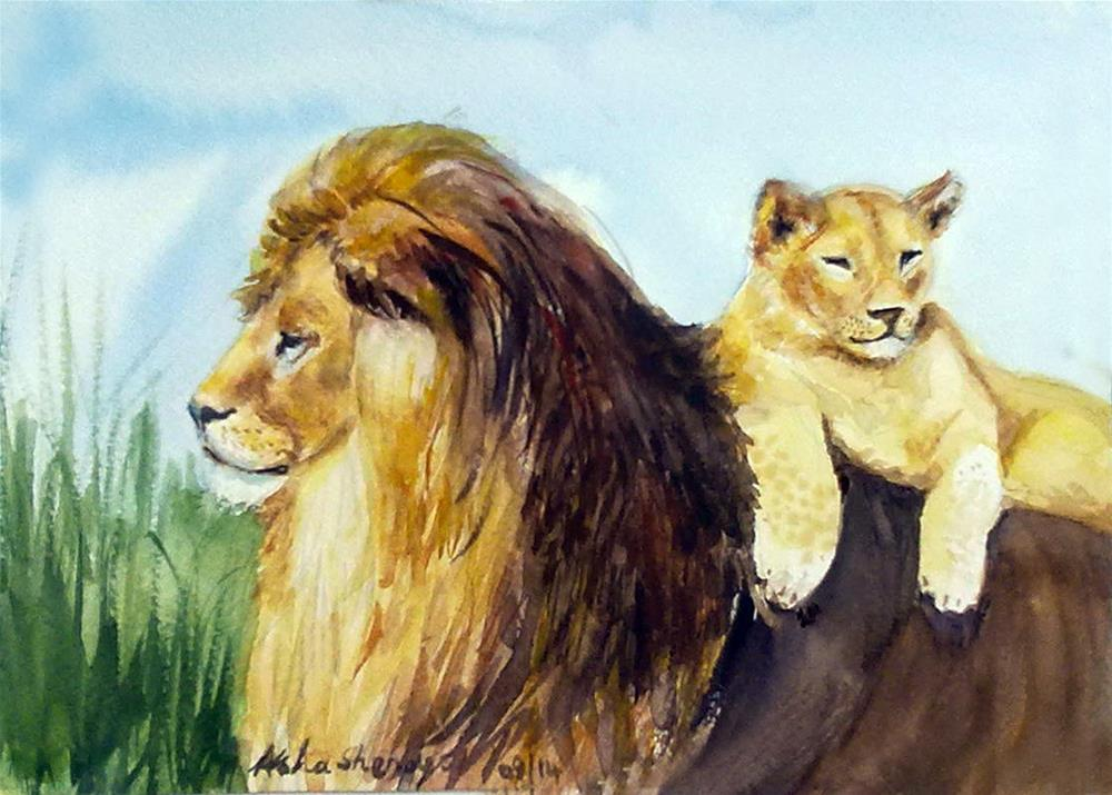 """""""Father and son"""" original fine art by Asha Shenoy S"""