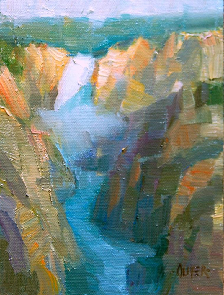 """Lower Falls - Yellowstone"" original fine art by Julie Ford Oliver"