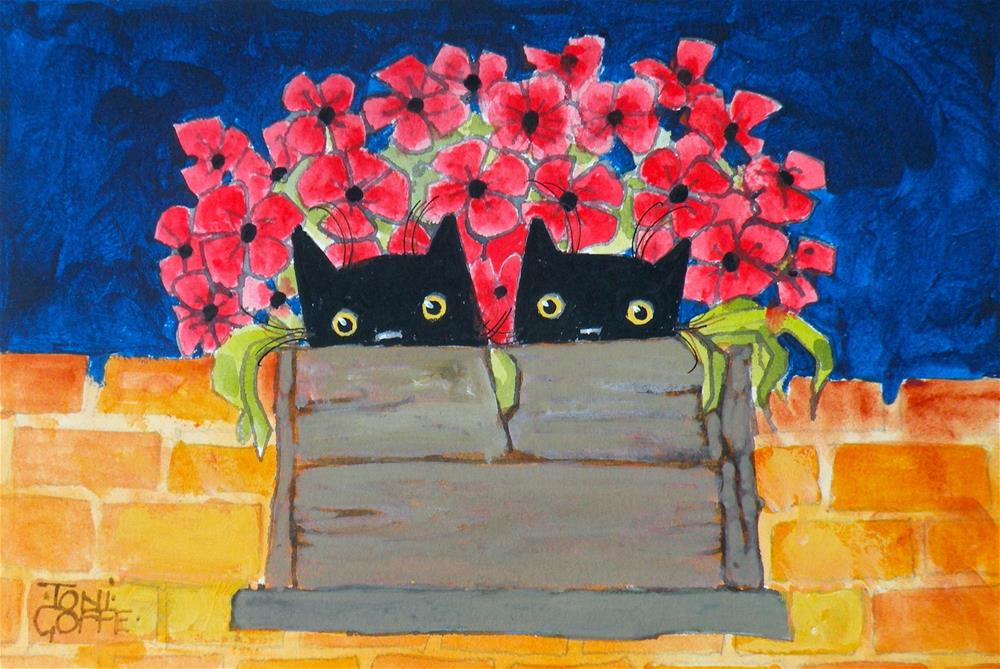 """Poppy Twins"" original fine art by Toni Goffe"