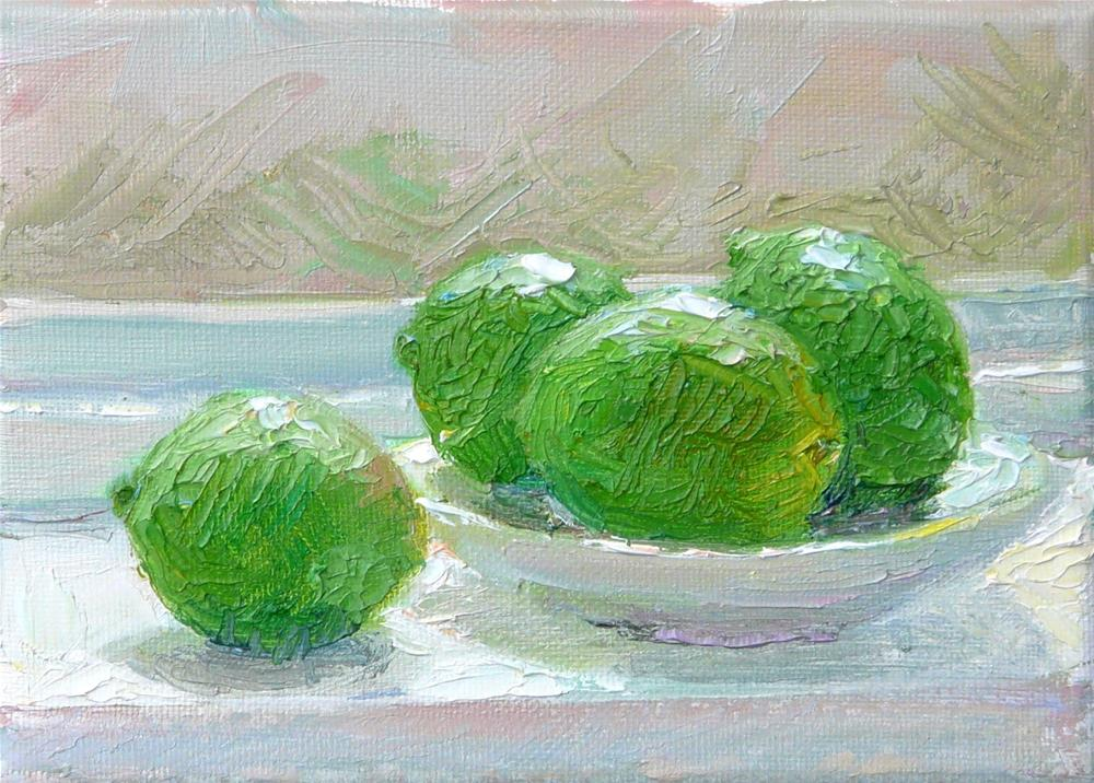 """Window Limes,still life,oil on canvas,5x7,price$175"" original fine art by Joy Olney"