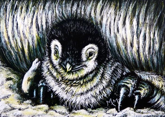 """Penguin Baby"" original fine art by Monique Morin Matson"