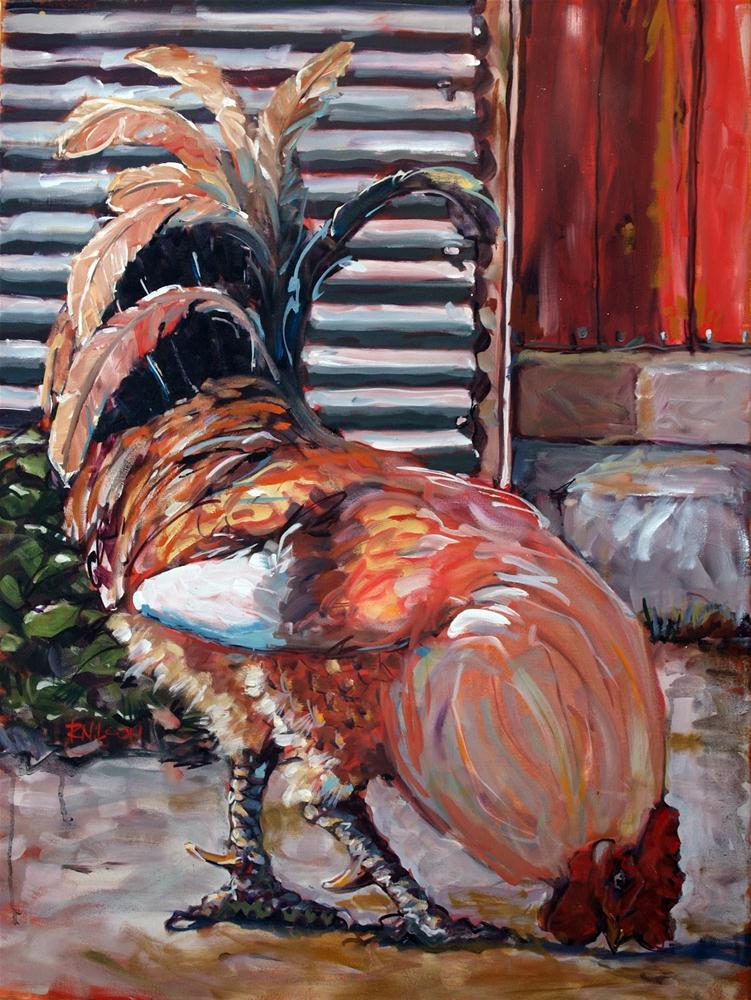 """Big Red (My little rooster)"" original fine art by Rick Nilson"