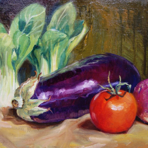 """""""Egg Plant and Tomato"""" original fine art by Susan N Jarvis"""