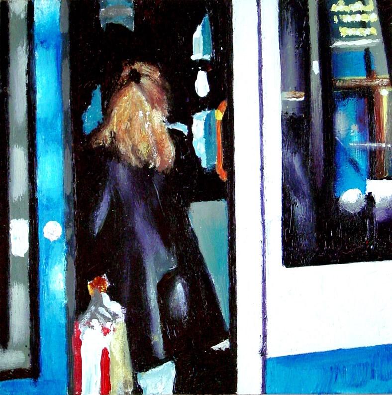 """""""All Aboard- Woman Boarding Tram In Amsterdam"""" original fine art by Gerard Boersma"""