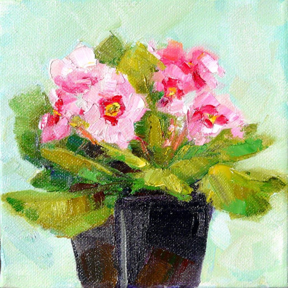 """Another Pink Primrose,still life,oil on canvas,6x6,price$200"" original fine art by Joy Olney"