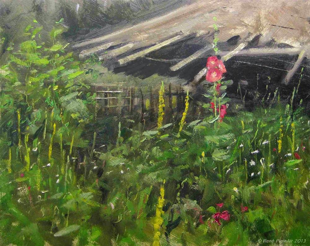 """Hollyhocks. Hengelo Holland."" original fine art by René PleinAir"