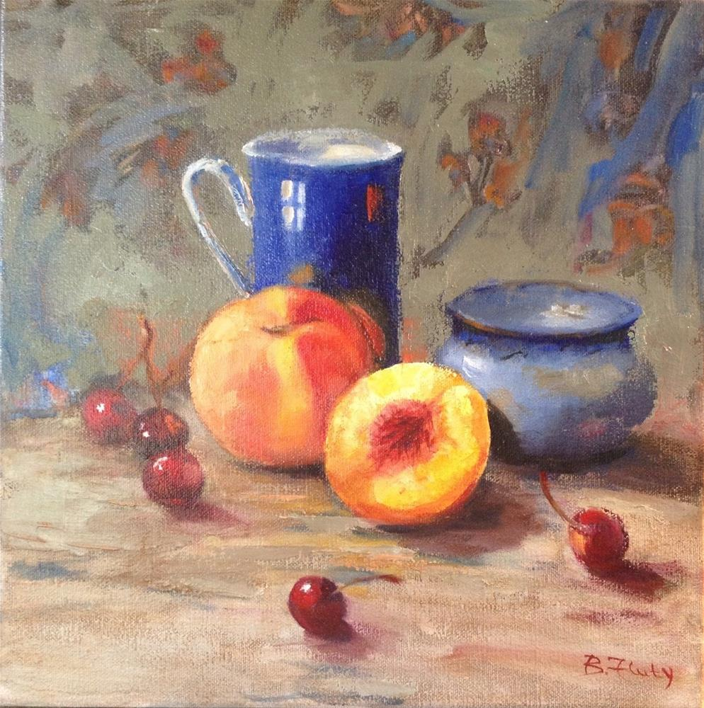 """Peach Thrills"" original fine art by Barbara Fluty"