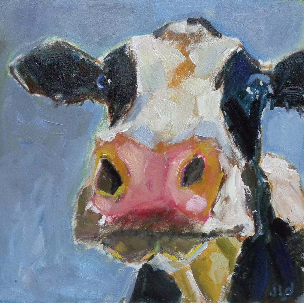 """Cow 93 YO MAMA"" original fine art by Jean Delaney"