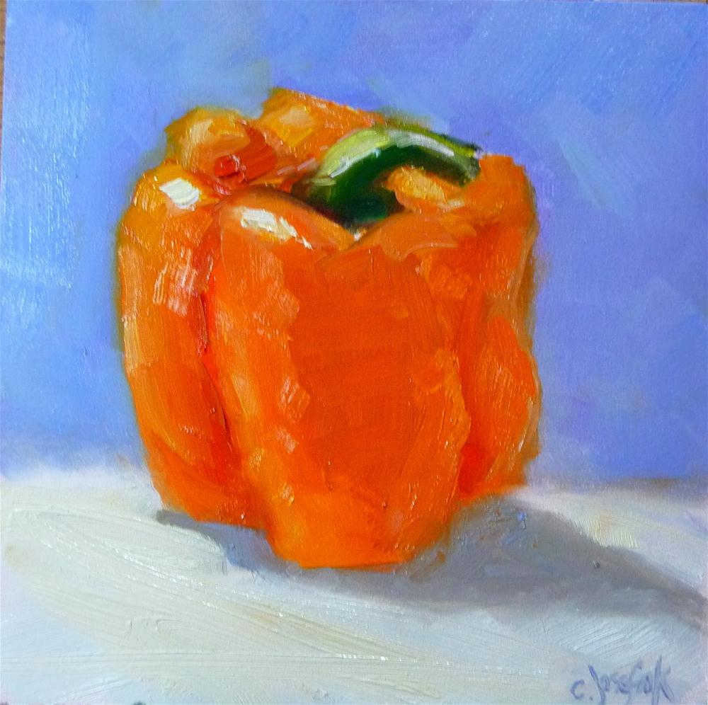 """Orange Pepper #2"" original fine art by Carol Josefiak"