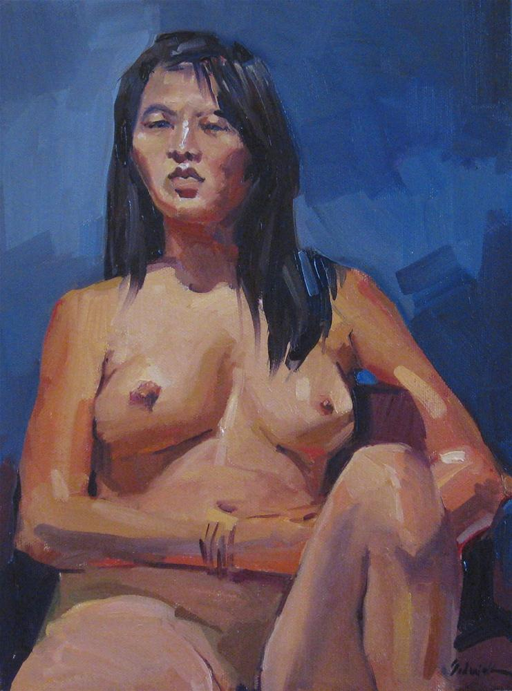 """Nude on Blue female figure painting portrait asian woman"" original fine art by Sarah Sedwick"