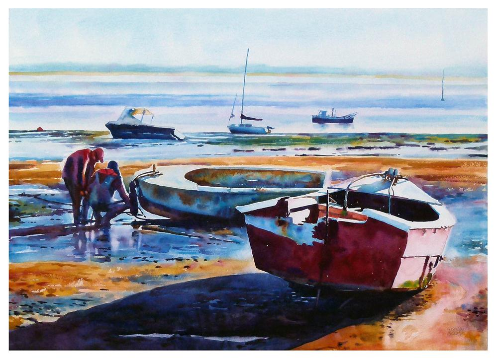 """Fixing the boat"" original fine art by Graham Berry"