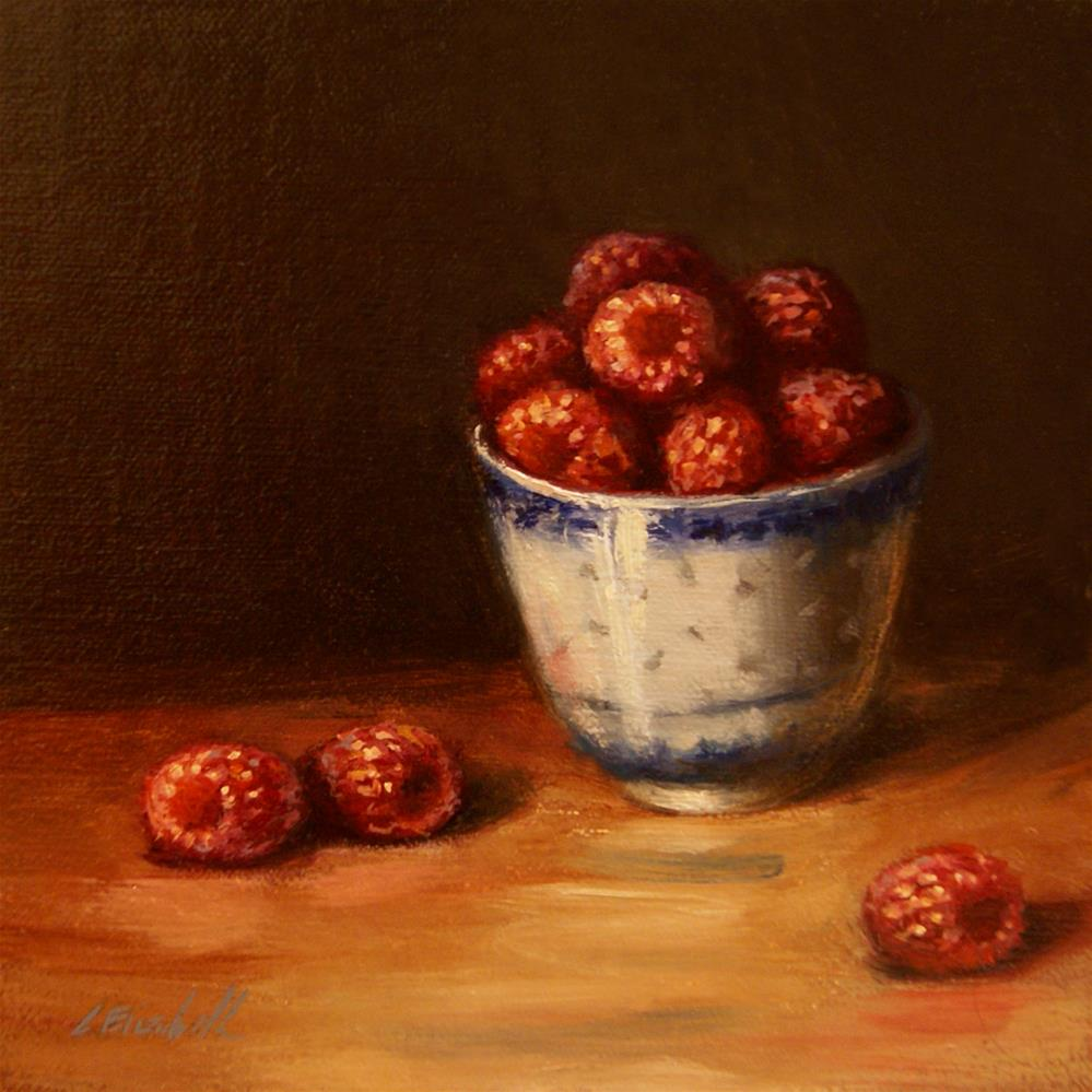 """Raspberries in Blue and White Cup,  Oil on 6x6 Linen Panel"" original fine art by Carolina Elizabeth"