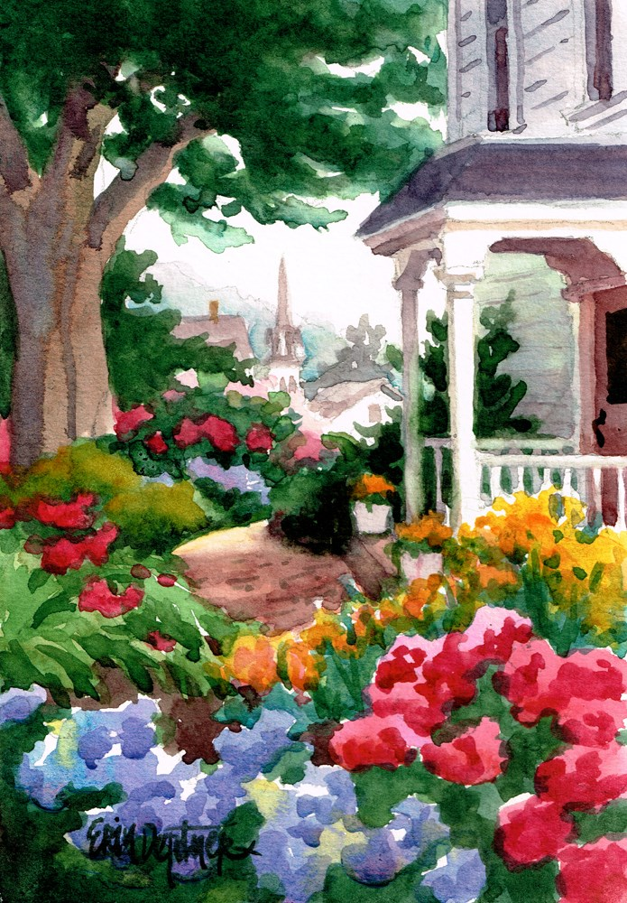"""Victorian Garden"" original fine art by Erin Dertner"