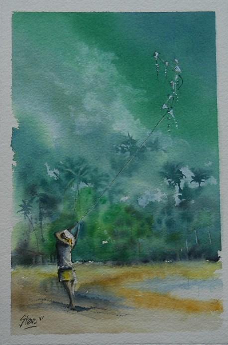 """The Girl with 9 kites"" original fine art by Martin Stephenson"
