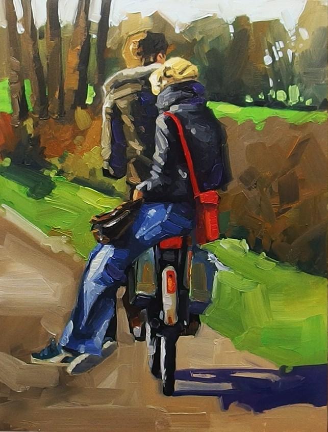 """No 840 Hopping a Ride"" original fine art by Robin J Mitchell"