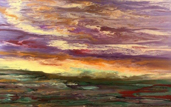 """Contemporary Abstract Landscape,Sunrise Painting Reflections on the Plains III by International Co"" original fine art by Kimberly Conrad"