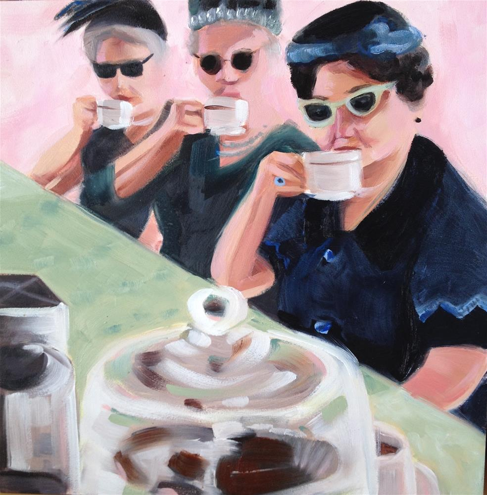 """A Trio for Tea"" original fine art by Bev Thibault"