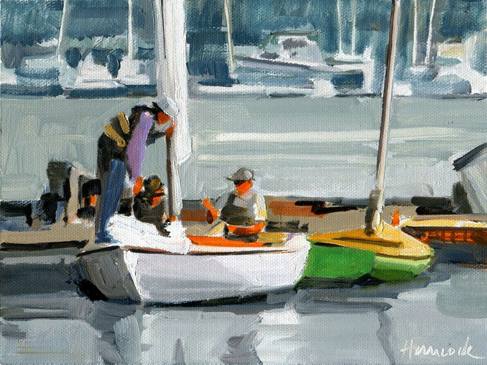 """Sailing Lesson - At the Dock"" original fine art by Gretchen Hancock"