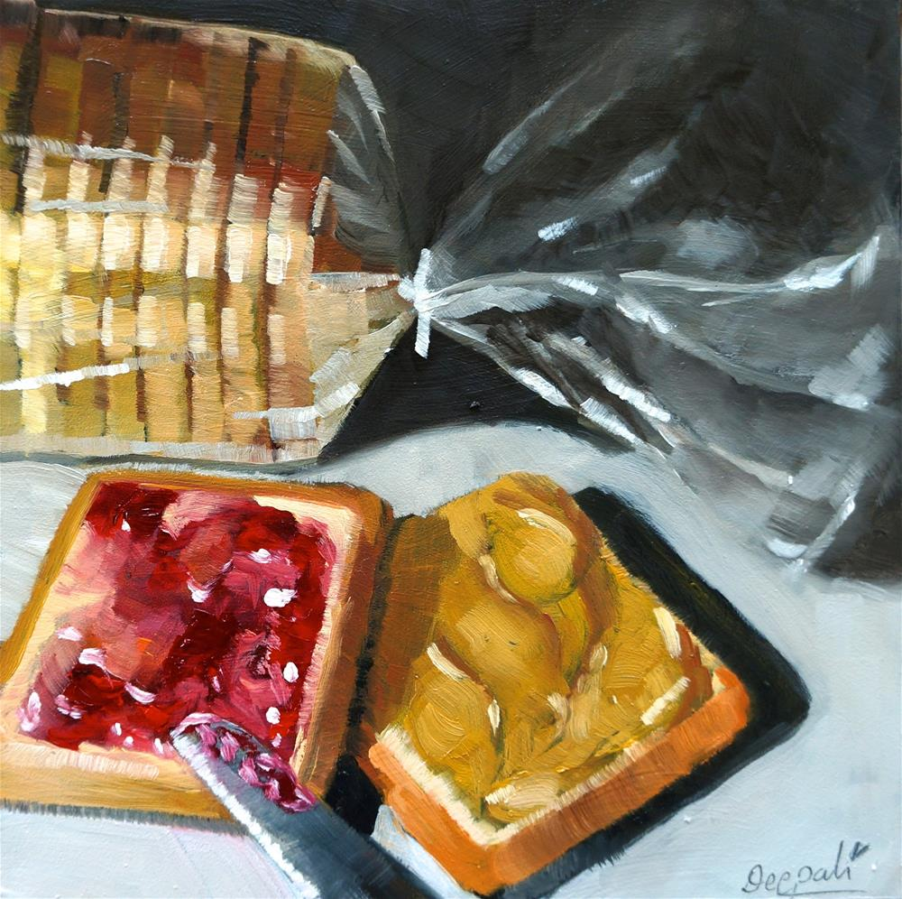 """PB&J with bread loaf"" original fine art by Dipali Rabadiya"