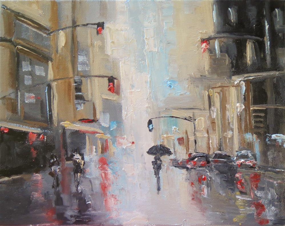 """Walking in the rain"" original fine art by Astrid Buchhammer"