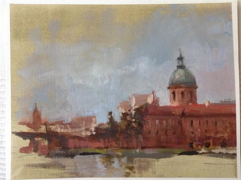 """Garonne riverside"" original fine art by Christine Bayle"