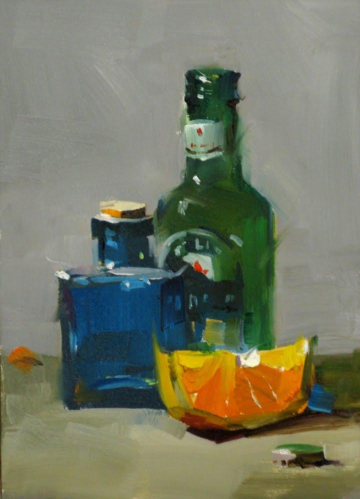"""""Happy Hour"" original fine art by Qiang Huang"