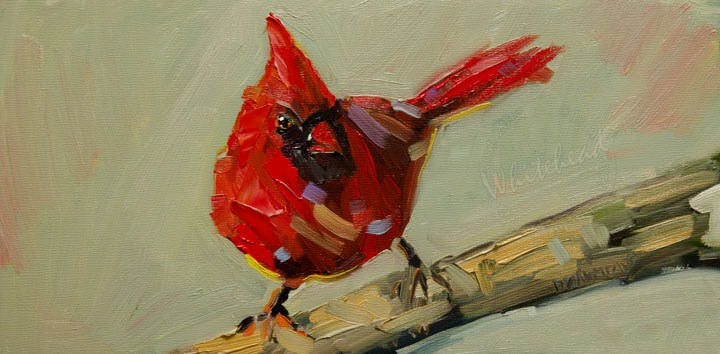 """""""ARTOUTWEST Finch Bird art oil painting by Diane Whitehead"""" original fine art by Diane Whitehead"""
