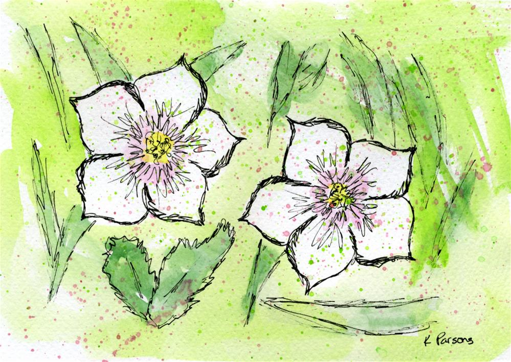"""Two Lovely White Flowers"" original fine art by Kali Parsons"