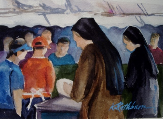 """Church Festival...everyone helps."" original fine art by Kathy Los-Rathburn"