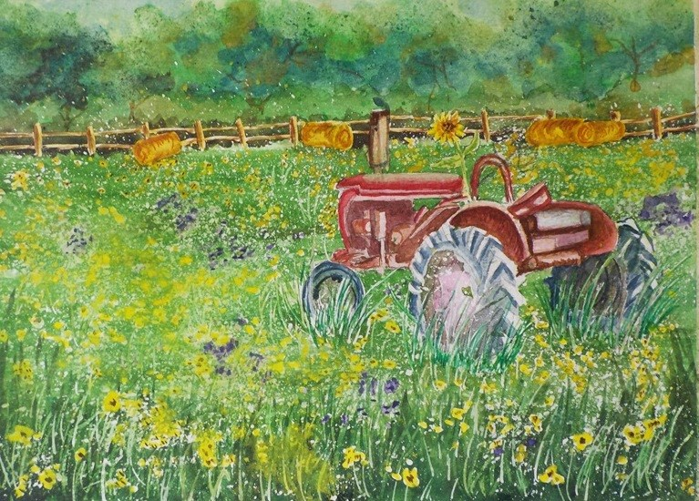 """Tractor in the Susans   #188"" original fine art by Jim Whiteside"