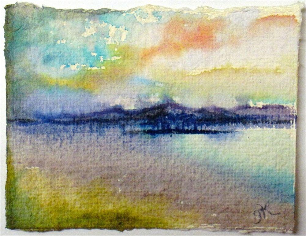 Island Through Atmosphere on the Hudson - miniature landscape by New York Artist Gretchen Kelly original fine art by Gretchen Kelly