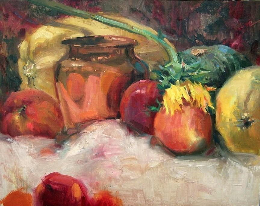"""Brass And Squash"" original fine art by Mary Maxam"