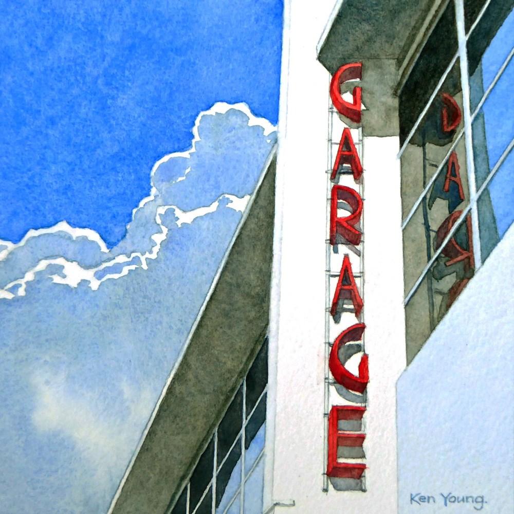 """Deco Garage Sign"" original fine art by Ken Young"