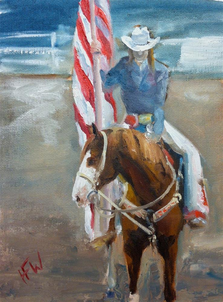 """National Anthem at the Cherokee Rodeo"" original fine art by H.F. Wallen"