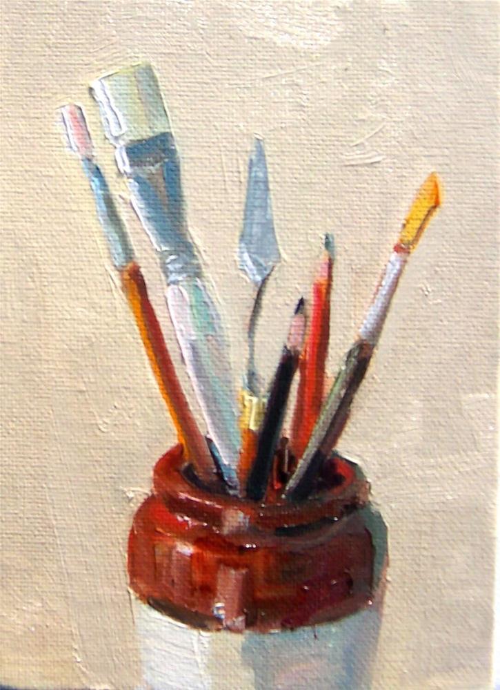 """Jar full,still life,oil on canvas,7x5,price$195"" original fine art by Joy Olney"