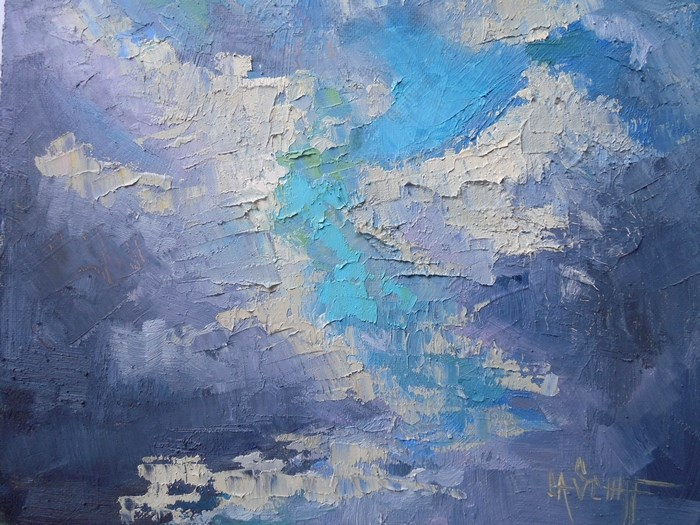 """Cloud Painting, Sky Painting, Daily Painting, Small Oil Painting, A Touch of Blue by Carol Schiff, 6"" original fine art by Carol Schiff"