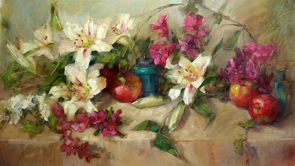 """Oriental Lilies"" original fine art by Barbara Schilling"