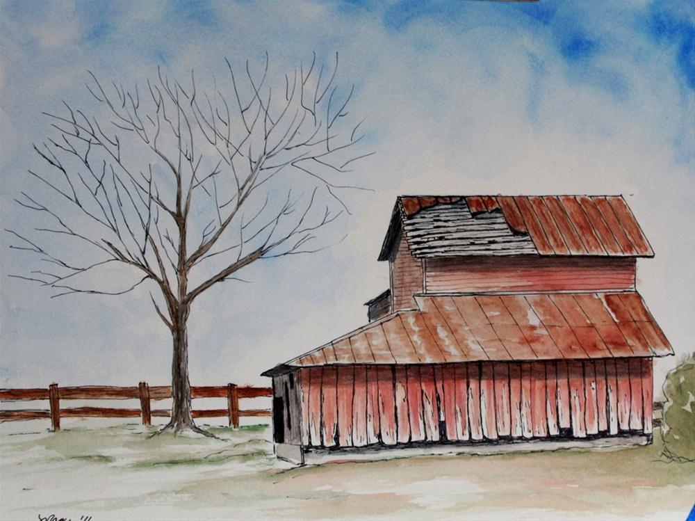 """Red Barn in Lawrence Kansas"" original fine art by Mary Datum"