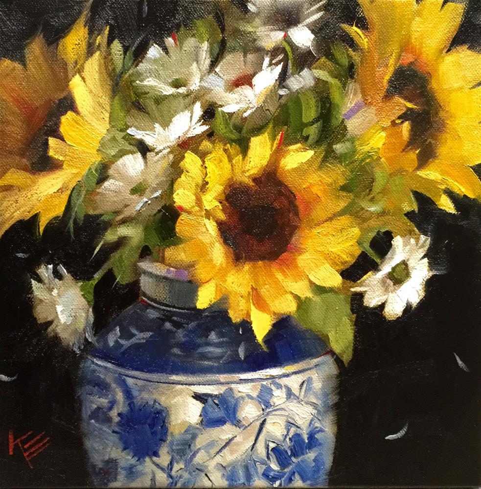 """Sunflowers in White & Blue"" original fine art by Krista Eaton"