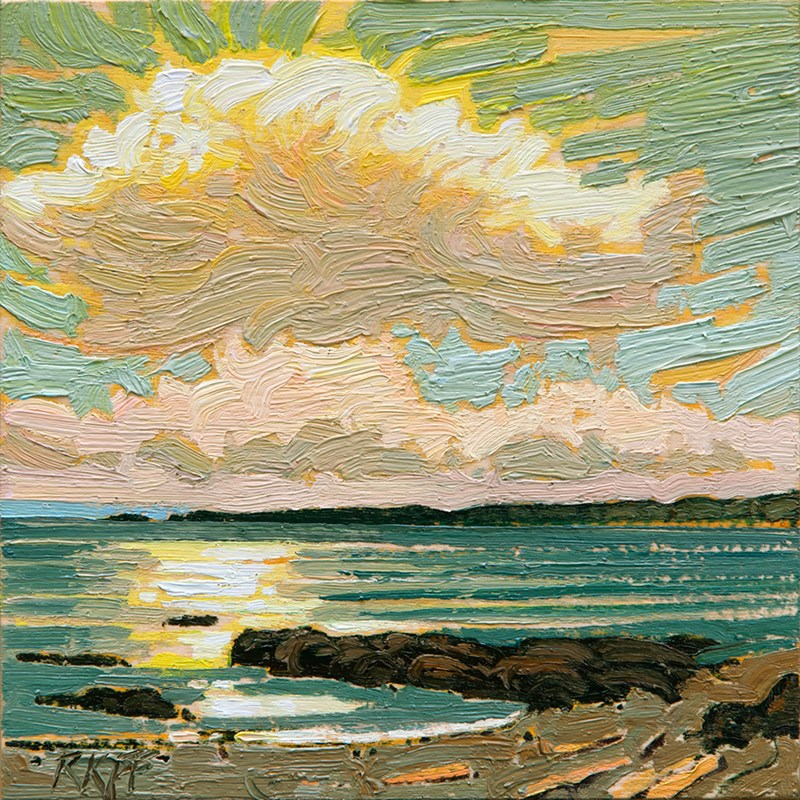 """Dallas Road: Sunlight: 6x6 oil on panel"" original fine art by Ken Faulks"