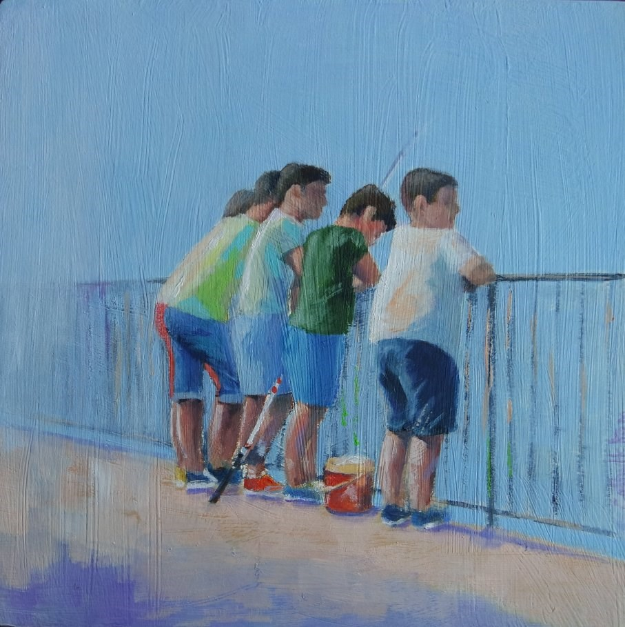 """Five Boys and a Fishing Rod"" original fine art by Cathy Holtom"