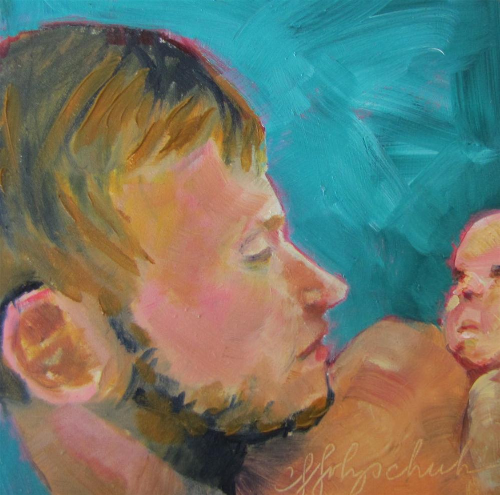 """New Dad (Josh)  4x4  oil sold"" original fine art by Christine Holzschuh"