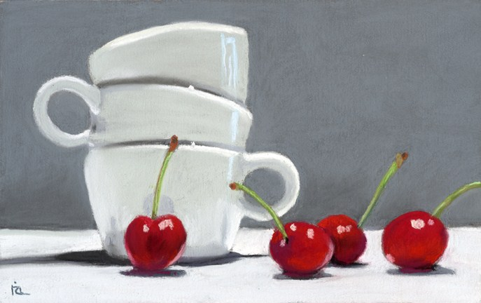 """Coffee and Cherries"" original fine art by Ria Hills"
