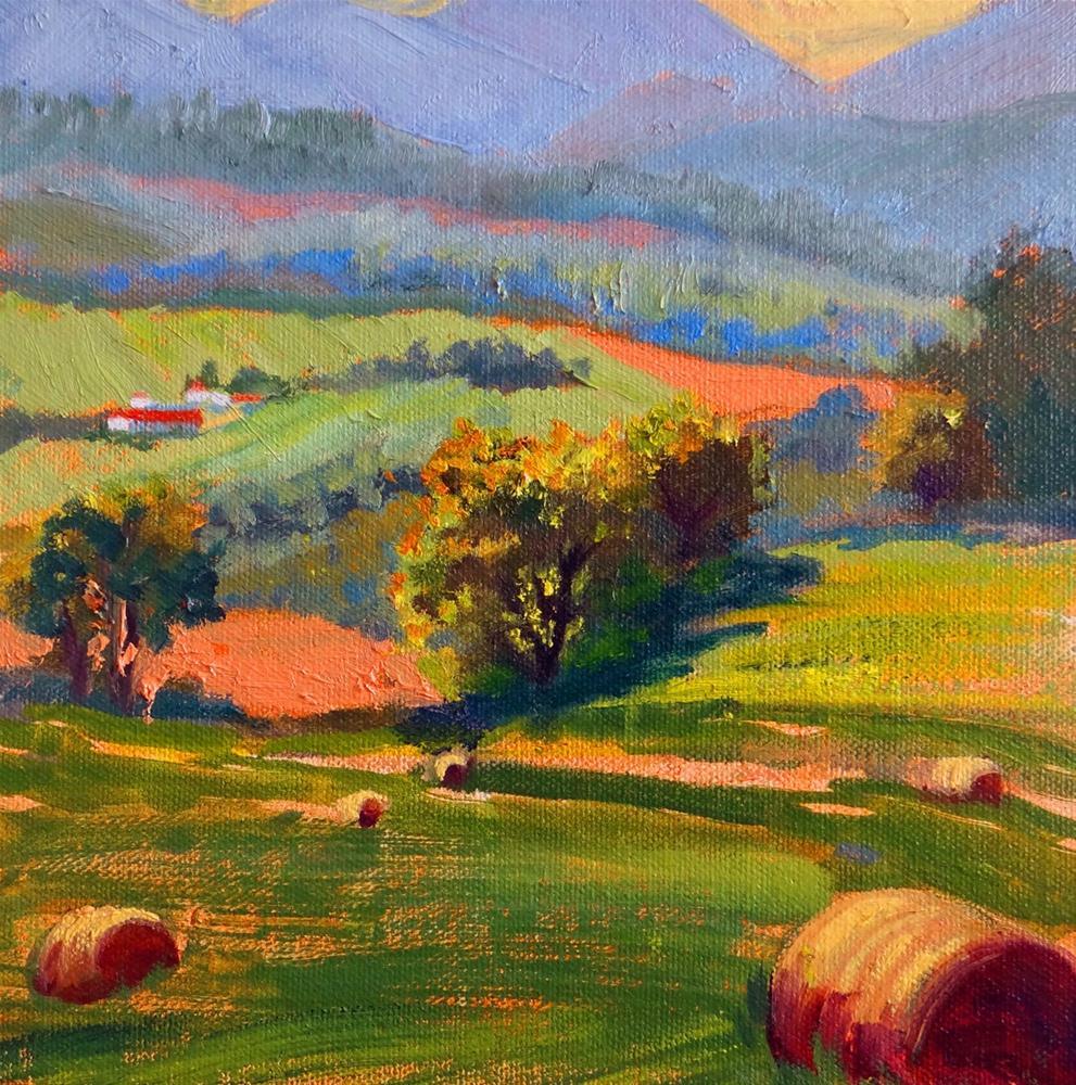 """Hay Bales, Fields of Gold"" original fine art by Nancy Paris Pruden"